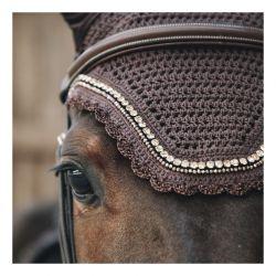 Fly Veil Wellington Stone & Pearl bonnet anti-mouches chevaux Kentucky
