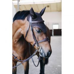 Fly Veil Wellington Leather bonnet anti-mouches chevaux Kentucky