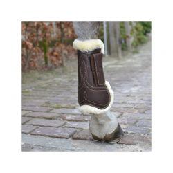 Sheepskin Leather Tendon Boots Hook & Loop guêtres en similicuir et mouton avec velcro élastiques chevaux Kentucky