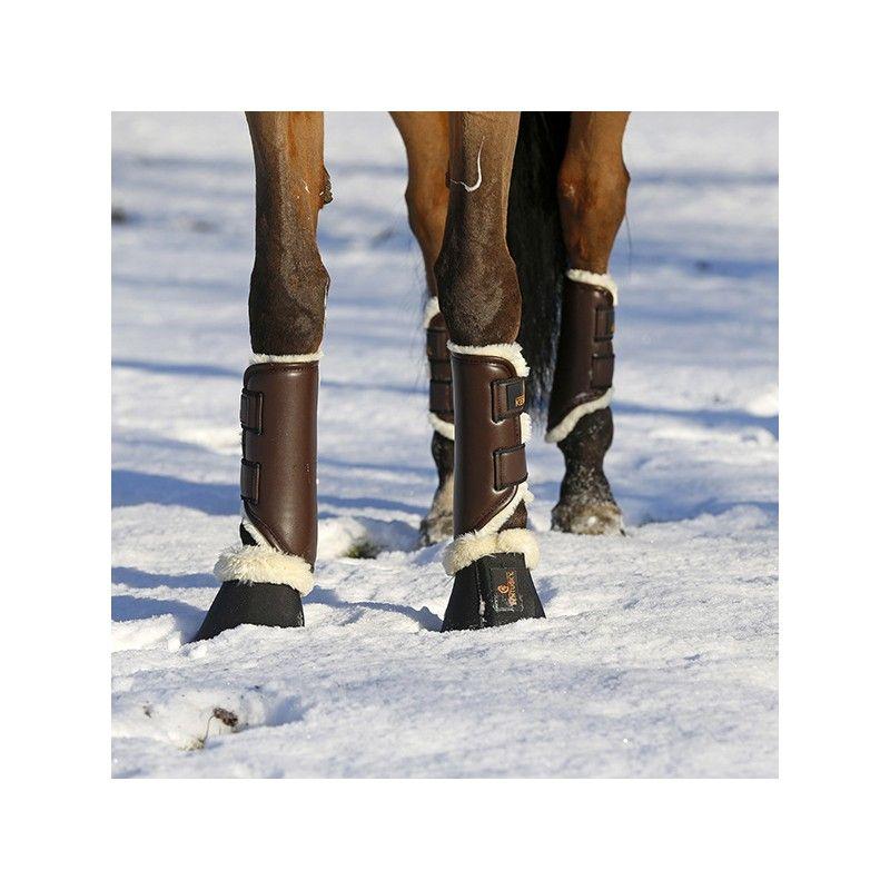 Turnout Boots Leather Hind guêtres postérieures en similicuir et mouton chevaux Kentucky